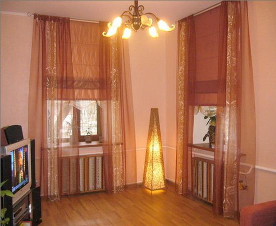 римские шторы в эркер